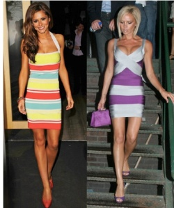 Cherl Cole and Posh.  Cheryl the only person who makes a Hervé Léger dress look big.